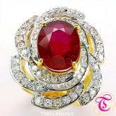 แหวนทองคำแท้ 90 พลอยทับทิม 10.42 กะรัต พร้อมเพชรแท้  1.91 สวยงาม ดีไซร์สวย เรียบหรูมากๆ
