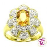 แหวนพลอยทองคำแท้ 90 ประดับพลอยบุศราคัม  1.56 กะรัต พร้อมเพชรแท้เบลเยียม 0.79 กะรัต สินค้ามีใบรับประก
