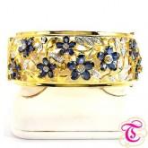 กำไลทองคำแท้90  พร้อมพลอยไพลิน  10.77  กะรัต ประดับเพชรเบลเยี่ยมแท้ 0.78 กะรัต สวยงาม ทันสมัย ดีไซร์