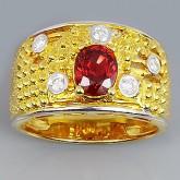 แหวนทองคำแท้ 90 ประดับพลอยทับทิม 1.28 กะรัต พร้อมเพชรแท้เบลเยียม 0.14 กะรัต สินค้ามีใบรับประกัน