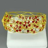 กำไลทองคำแท้90 พร้อมพลอยทับทิม 10.10  กะรัต ประดับด้วยเพชรแท้เบลเยี่ยม 0.56 กะรัต  สวยงาม ทันสมัย ดี