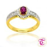 แหวนทองคำแท้ 90 ประดับพลอยทับทิมสยาม 0.40 กะรัต พร้อมประดับด้วยเพชรเบลเยี่ยม 0.38 กะรัต สินค้ามีใบรั