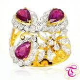 แหวนทองคำแท้ 90 ประดับพลอยทับทิมสยาม 1.41กะรัต พร้อมประดับด้วยเพชรเบลเยี่ยม 1.03กะรัต สินค้ามีใบรับป