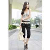 กางเกงขา 3 ส่วนแฟชั่นเกาหลี  สีกากี NO.000183