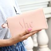 Gifbest-12411 กระเป๋าสตางค์ หญิง สามารถใส่ iPhone7 สีชมพู