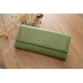 Gifbest-12396 กระเป๋าสตางค์หญิง ทรงยาว 3 พับ สีเขียว