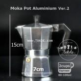 หม้อต้ม กาแฟ สด เอสเพรสโซ่ อลูมิเนียม 2 คัพ/ช๊อต Pezzetti Ver.2 moka pot aluminuim  espresso pot