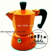 หม้อต้ม กาแฟ สด เอสเพรสโซ่ อลูมิเนียม 1 คัพ/ช๊อต สีส้ม  moka pot aluminuim espresso pot