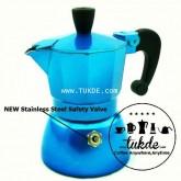 หม้อต้ม กาแฟ สด เอสเพรสโซ่ อลูมิเนียม 1 คัพ/ช๊อต สีฟ้า moka pot aluminuim espresso pot