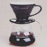 กาแฟดริป  แก้วดริปกาแฟ รูเดียว เซรามิค สีดำ Ceramic Coffee Dripper ถ้วยกรองกาแฟ