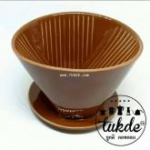 แก้วดริปกาแฟ เซรามิค สีน้ำตาล 1-2 Cups (101) ไม่มีหู  Ceramic Coffee Dripper ถ้วยกรองกาแฟ
