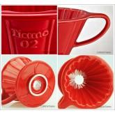 กาแฟดริป  แก้วดริปกาแฟ รูเดียว เซรามิค Tiamo dripper สีแดง Ceramic Coffee Dripper ถ้วยกรองกาแฟ