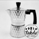 หม้อต้ม กาแฟ สด เอสเพรสโซ่ อลูมิเนียม 3 คัพ/ช๊อต silver Grid pattern moka pot aluminuim espresso pot