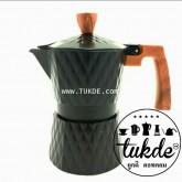 หม้อต้ม กาแฟ สด เอสเพรสโซ่ อลูมิเนียม 3 คัพ/ช๊อต black Grid pattern moka pot aluminuim espresso pot