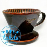 กาแฟดริป  แก้วดริปกาแฟ 3รู เซรามิค Tiamo dripper สีน้ำตาล Ceramic Coffee Dripper ถ้วยกรองกาแฟ
