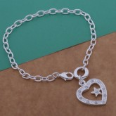 เครื่องประดับ กำไลข้อมือ กำไลเงิน 925 Heart 2115 - Silver