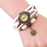 กำไล นาฬิกาข้อมือ สายหนังถักสไตล์วินเทจ Snow - สีขาว