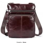 กระเป๋าสะพายหนังแท้ Oil Wax ไซส์ S รุ่น 2312 - สีน้ำตาลแดง