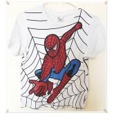 เสื้อยืดคอกลม สีเทา ลายสไปร์เดอร์แมน size 150