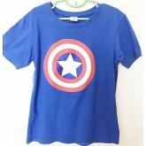 เสื้อยืดคอกลม สีน้ำเงิน ลายกัปตันอเมริกา size XL