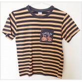 เสื้อยืดคอกลม ยี่ห้อ assign ลายขวางส้มน้ำเงินเข้ม size 7