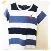 เสื้อยืดคอกลม ลายขาวน้ำเงิน ยี่ห้อ Polo size 10-12
