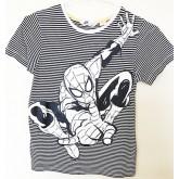 เสื้อยืดคอกลม ลายทางสีขาว-ดำ ตรงกลางเป็นลายสไปร์เดอร์แมน ยี่ห้อ HM ลายลิขสิทธิ์ Marvel size 6-8ํ Y