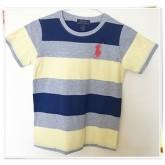 เสื้อยืดคอกลม ลายขวางน้ำเงินเหลือง ยี่ห้อ Polo size 8-10