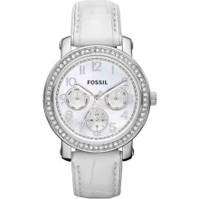 นาฬิกาข้อมือ Fossil ES2980 Leather Crocodile Analog with White Dial Watch