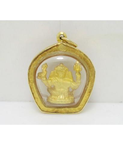 พระพิฆเนศวร กะไล่ทอง ลอยองค์ เลี่ยมทอง90 นน. 4.60 g