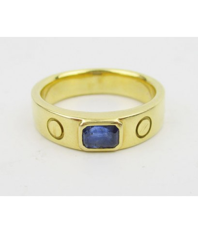 แหวน ไพลิน Emerald 1 เม็ด ลายคาร์เทียร์  ทอง18K หลุดจำนำ งานสวย เรียบหรู นน. 14.42 g