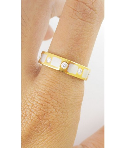 แหวน เพชรแถว 5 เม็ด 0.25 กะรัต สลับลาย 2 กษัตริย์ ทอง90 งานสวยมาก นน. 5.42 g