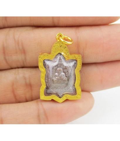 เหรียญ พญาเต่าเรือน รุ่น อุดมทรัพย์ หลวงปู่หลิว วัดไร่แตงทอง เนื้อทองแดง ปี 2560 เลี่ยมทอง นน. 7.50