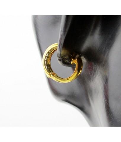 ต่างหู ห่วงเพชรแถว ฝังสอด 16 เม็ด 0.72 กะรัต ทอง90 เพชรสวย เล่นไฟ วิ้ง วิ้ง นน. 5.90 g