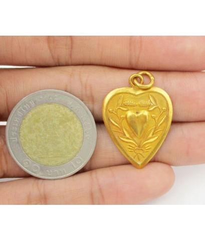 จี้ หัวใจ ลายธง ต้นไม้ ทอง100 ทองเก่า งานโบราณ สวยมาก นน. 3.80 g