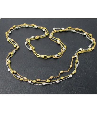 สร้อยคอ อิตาลี750 ทอง18K ลายโซ่ คั่นเม็ดยินตัน ตัดเงา 3 เส้น 3 กษัตริย์ หลุดจำนำ นน. 10.65 g
