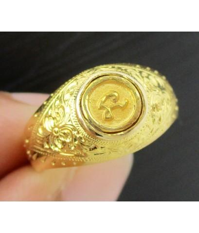 แหวน หัวนะโม ทองคำ แกะลาย ทอง90 แบบงานโบราณ สวยมาก Size 54.5 นน. 5.14 g