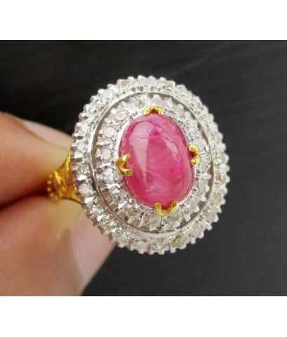 แหวน ทับทิม พม่า หลังเบี้ย ล้อมเพชรกุหลาบ 2 ชั้น 40 เม็ด 0.60 กะรัต ทองK 2 สี งานสวยมาก นน. 5.90 g