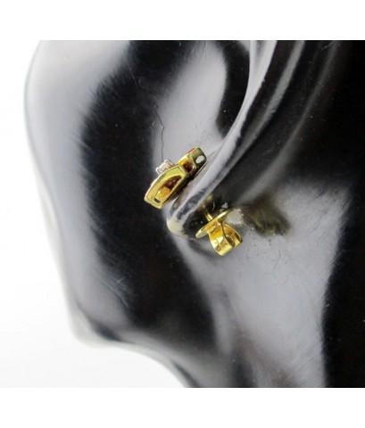 ต่างหู เพชรเดี่ยว 2 เม็ด 0.04 กะรัต ล้อมทับทิม Princess ทรงสามเหลี่ยม ทอง18K น่ารักมาก นน. 4.52 g