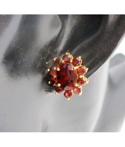 ต่างหู โกเมน เจียร กระจุกดอกไม้ ทอง90 งานสวยมาก นน. 6.73 g