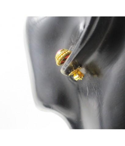 ต่างหู ทับทิม หลังเบี้ย ทรงจั่นมะพร้าว ทอง90 งานเก่า สวยมาก นน. 4.82 g