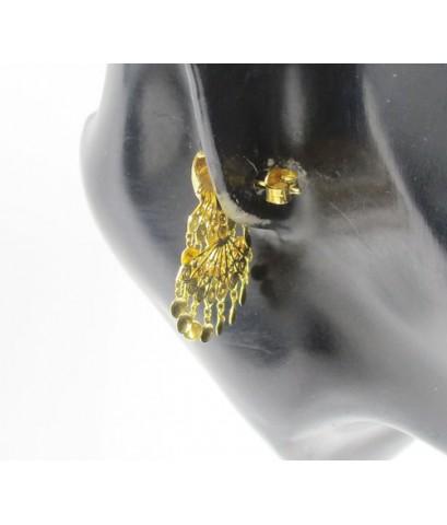 ต่างหู นกยูง ระย้า ตุ้งติ้ง ทอง90 งานทองเก่า สวยมาก นน. 5.33 g