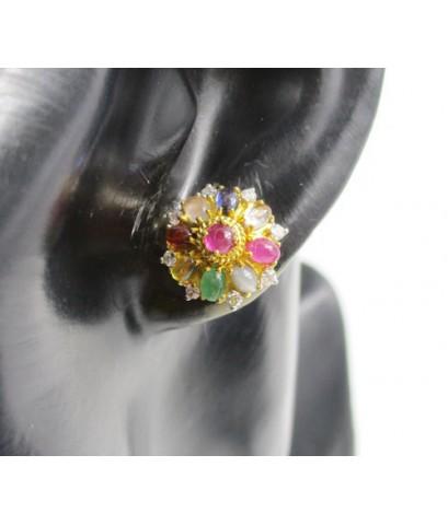 ต่างหู พลอยนพเก้า ล้อมเพชร 16 เม็ด 0.24 กะรัต ทอง90 งานเก่า หลุดจำนำ สวยมาก นน. 5.75 g