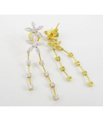 ต่างหู เพชรกระจุก ดอกไม้ ตุ้งติ้ง 58 เม็ด 1.34 กะรัต ทอง18K งานสวย น่ารักมาก นน. 7.92 g