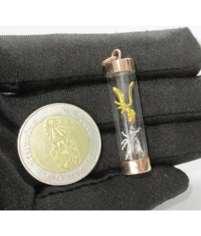 พญาต่อเงิน ต่อทอง โชคลาภ ค้าขาย ครอบแก้ว เลี่ยมนาก40 นน. 3.25 g