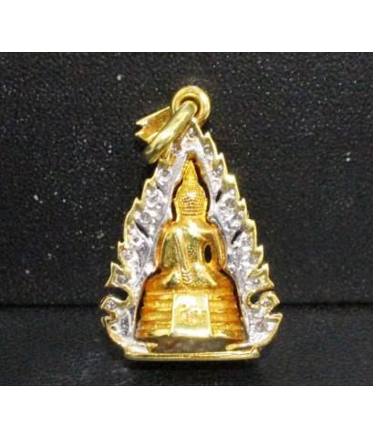 พระหลวงพ่อโสธร เนื้อทองคำ กรอบทอง ฝังเพชร 27 เม็ด 0.20 กะรัต นน. 9.28 g