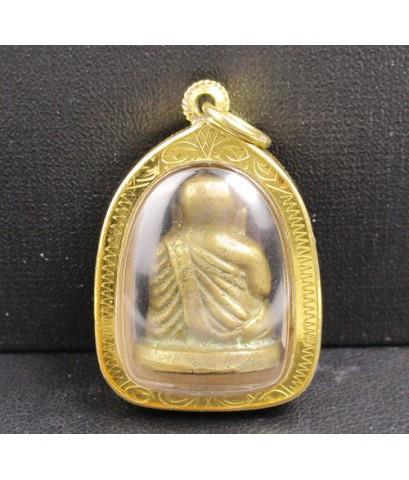 รูปหล่อโบราณ หลวงพ่อเงิน บางคลาน เนื้อทองเหลือง เลี่ยมทองเก่า นน. 16.76 g