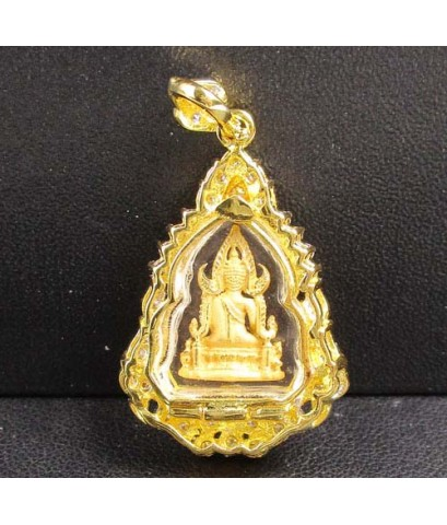 พระพุทธชินราช เนื้อทองคำ กรอบทอง ล้อมเพชร 44 เม็ด 0.56 กะรัต นน. 7.92 g