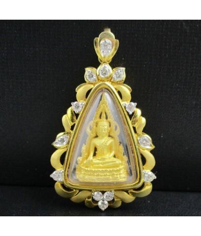พระพุทธชินราช เนื้อทองคำ กรอบทอง ฝังเพชร 13 เม็ด 0.65 กะรัต นน. 12.56 g