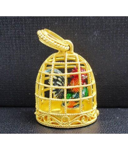 จี้ ไก่ เรียกทรัพย์ หลวงพ่อรวย รุ่นเงินไหลมา เนื้อเงินลงยา เลี่ยมกรงทอง สวยน่าสะสม นน. 12.26 g